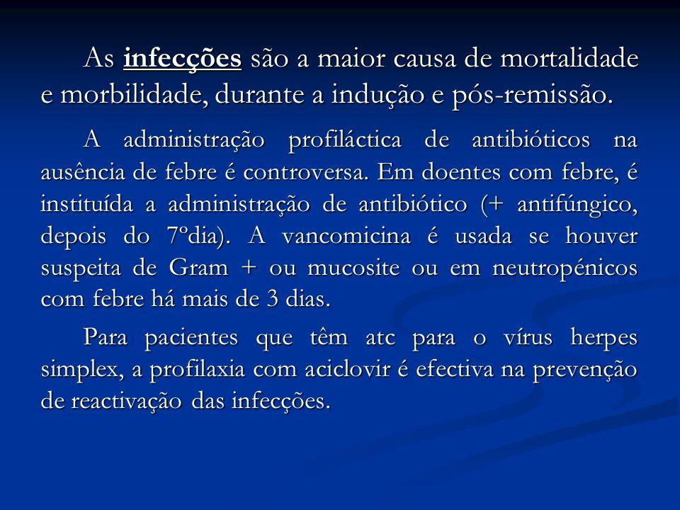 As infecções são a maior causa de mortalidade e morbilidade, durante a indução e pós-remissão. A administração profiláctica de antibióticos na ausênci