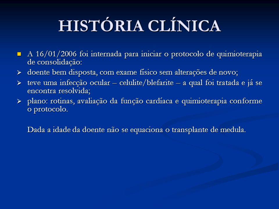 HISTÓRIA CLÍNICA A 16/01/2006 foi internada para iniciar o protocolo de quimioterapia de consolidação: A 16/01/2006 foi internada para iniciar o proto