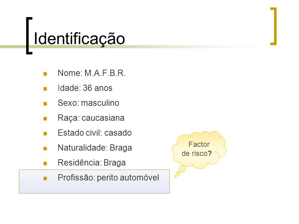 Identificação Nome: M.A.F.B.R. Idade: 36 anos Sexo: masculino Raça: caucasiana Estado civil: casado Naturalidade: Braga Residência: Braga Profissão: p