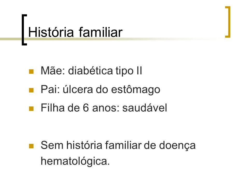 História familiar Mãe: diabética tipo II Pai: úlcera do estômago Filha de 6 anos: saudável Sem história familiar de doença hematológica.