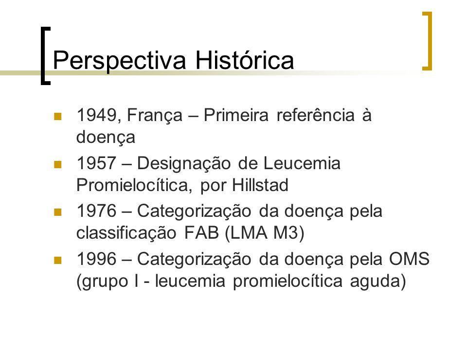 Perspectiva Histórica 1949, França – Primeira referência à doença 1957 – Designação de Leucemia Promielocítica, por Hillstad 1976 – Categorização da d