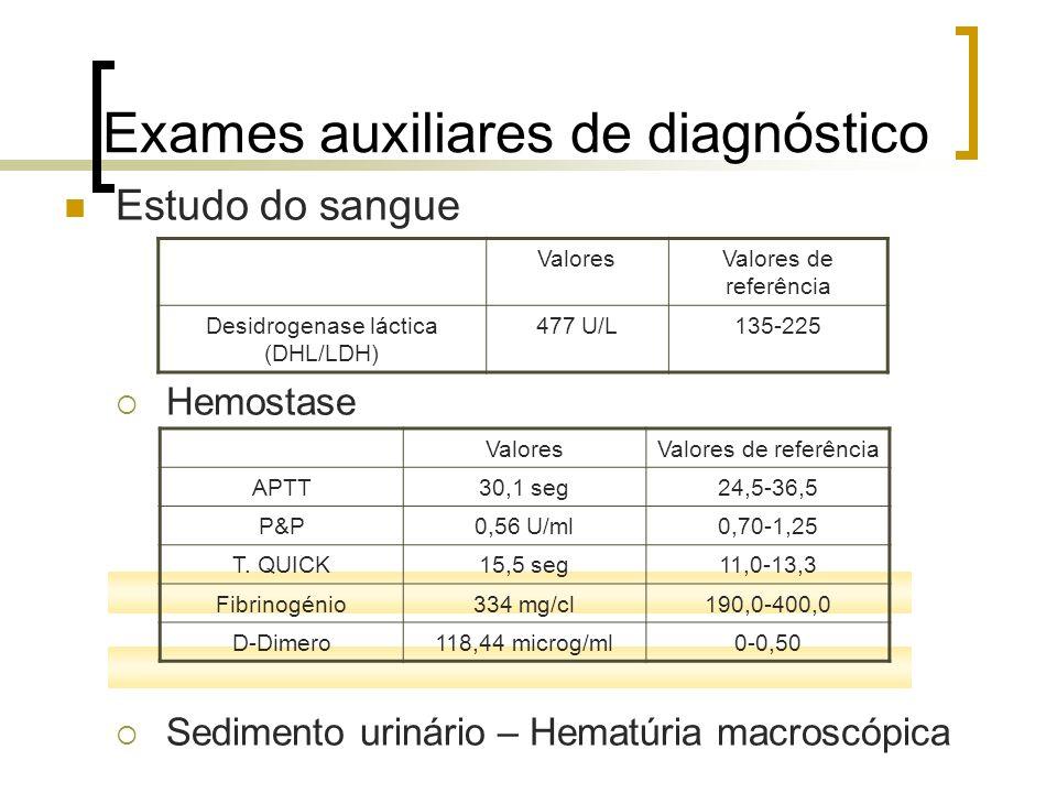 Exames auxiliares de diagnóstico Estudo do sangue Hemostase Sedimento urinário – Hematúria macroscópica ValoresValores de referência Desidrogenase lác