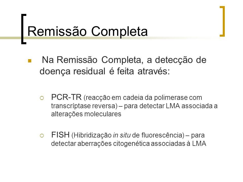 Remissão Completa Na Remissão Completa, a detecção de doença residual é feita através: PCR-TR (reacção em cadeia da polimerase com transcríptase rever
