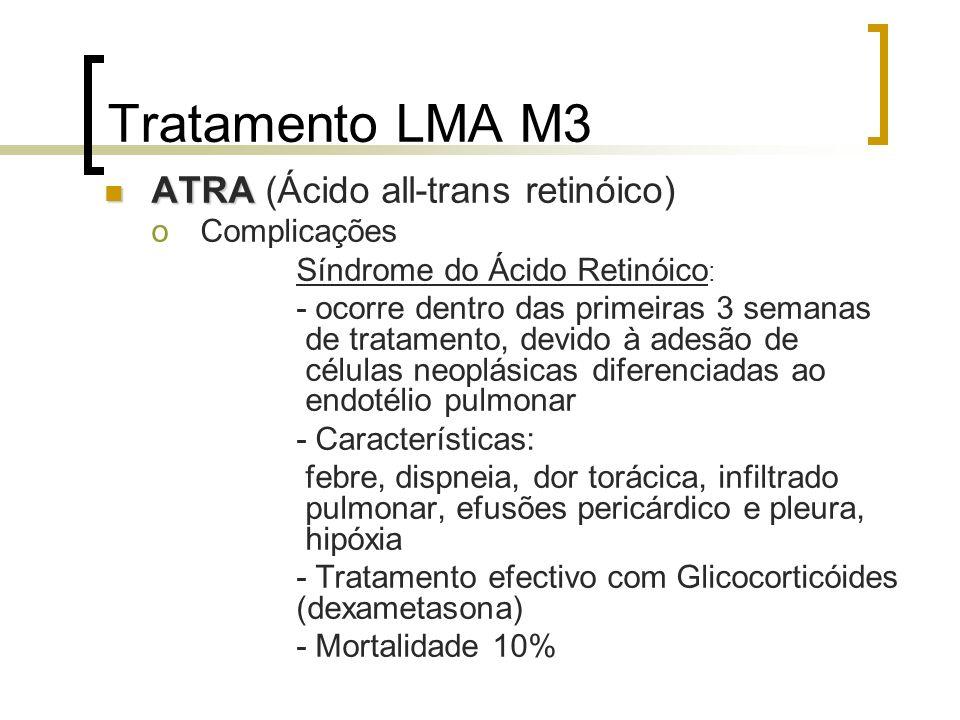 Tratamento LMA M3 ATRA ATRA (Ácido all-trans retinóico) oComplicações Síndrome do Ácido Retinóico : - ocorre dentro das primeiras 3 semanas de tratame