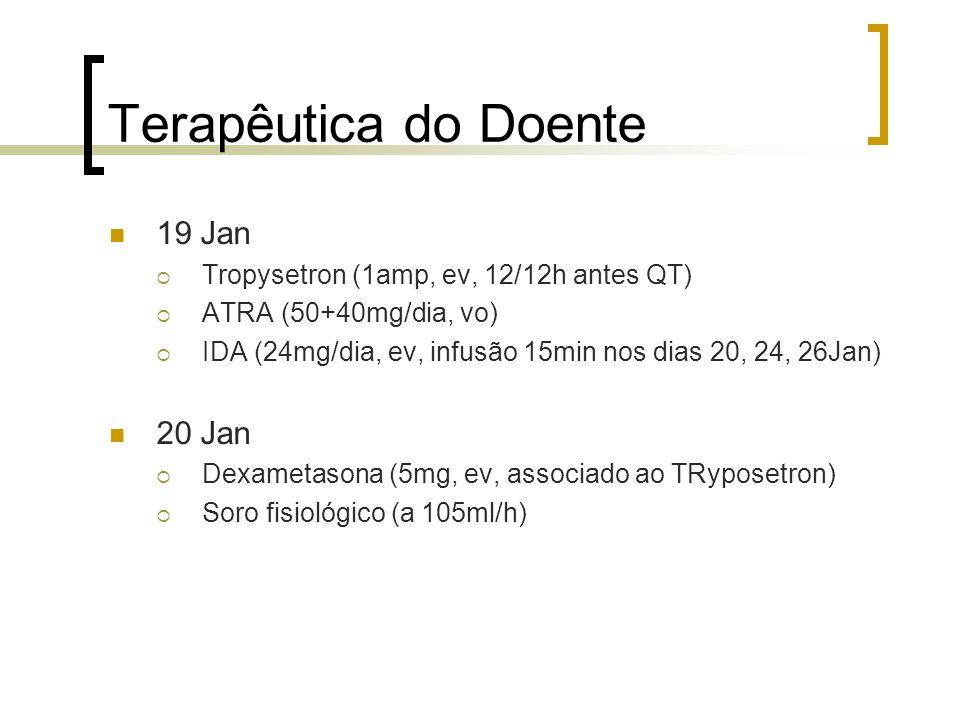 Terapêutica do Doente 19 Jan Tropysetron (1amp, ev, 12/12h antes QT) ATRA (50+40mg/dia, vo) IDA (24mg/dia, ev, infusão 15min nos dias 20, 24, 26Jan) 2