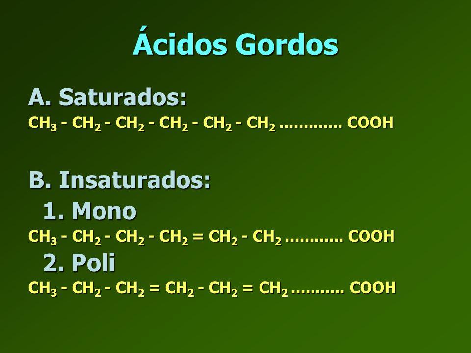 Ácidos gordos TRANS: Resultado da hidrogenação de AG insaturados.