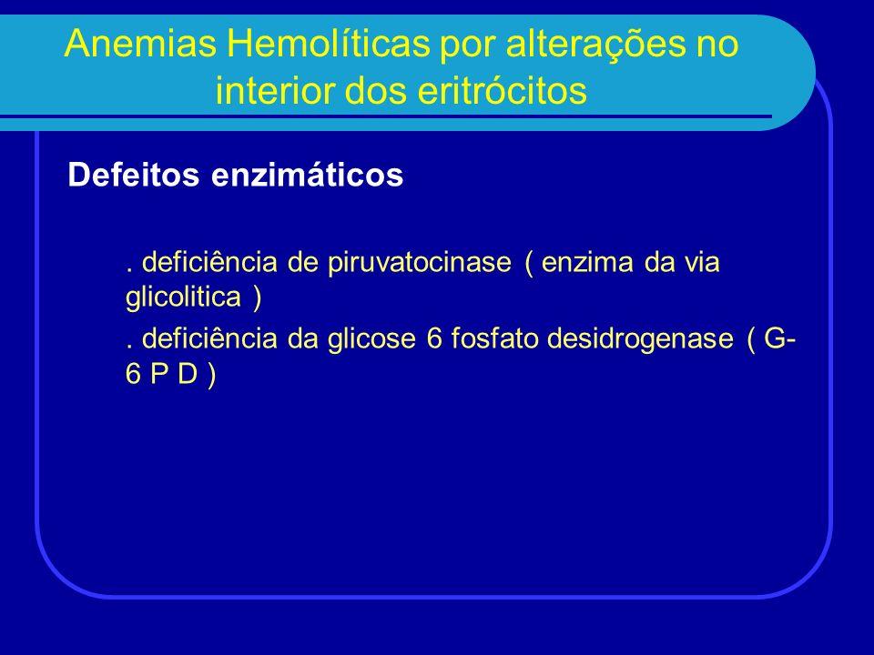 Anemias Hemolíticas por alterações no interior dos eritrócitos Defeitos enzimáticos. deficiência de piruvatocinase ( enzima da via glicolitica ). defi