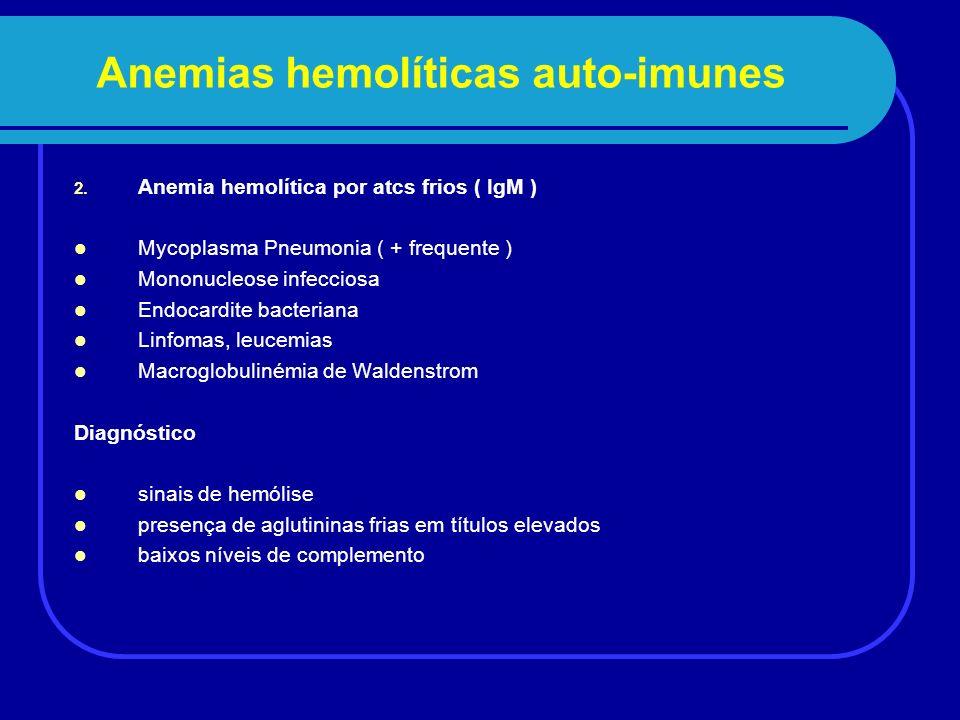 Anemias hemolíticas secundárias a drogas - 15% das anemias hemolíticas auto- imunes 1.