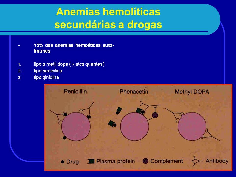 Anemias hemolíticas secundárias a drogas - 15% das anemias hemolíticas auto- imunes 1. tipo α metil dopa ( ~ atcs quentes ) 2. tipo penicilina 3. tipo