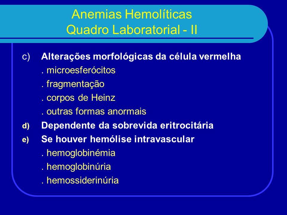 1) Anemias Hemolíticas resultantes de anomalias congénitas do glóbulo rubro a) Alterações da membrana.