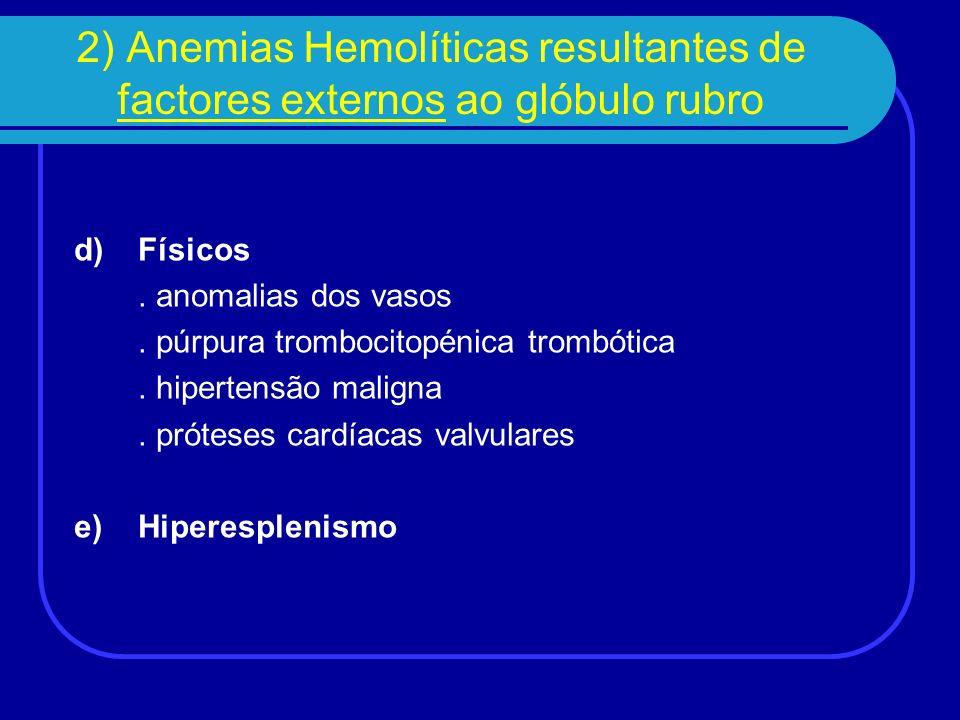 3) Anemias Hemolíticas devido a infecções Parasitas – malária Bactérias