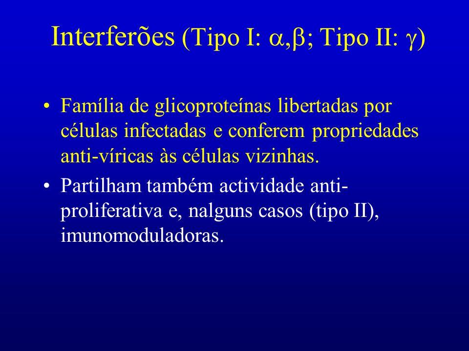 Interferões (Tipo I: Tipo II: Família de glicoproteínas libertadas por células infectadas e conferem propriedades anti-víricas às células vizinhas. Pa