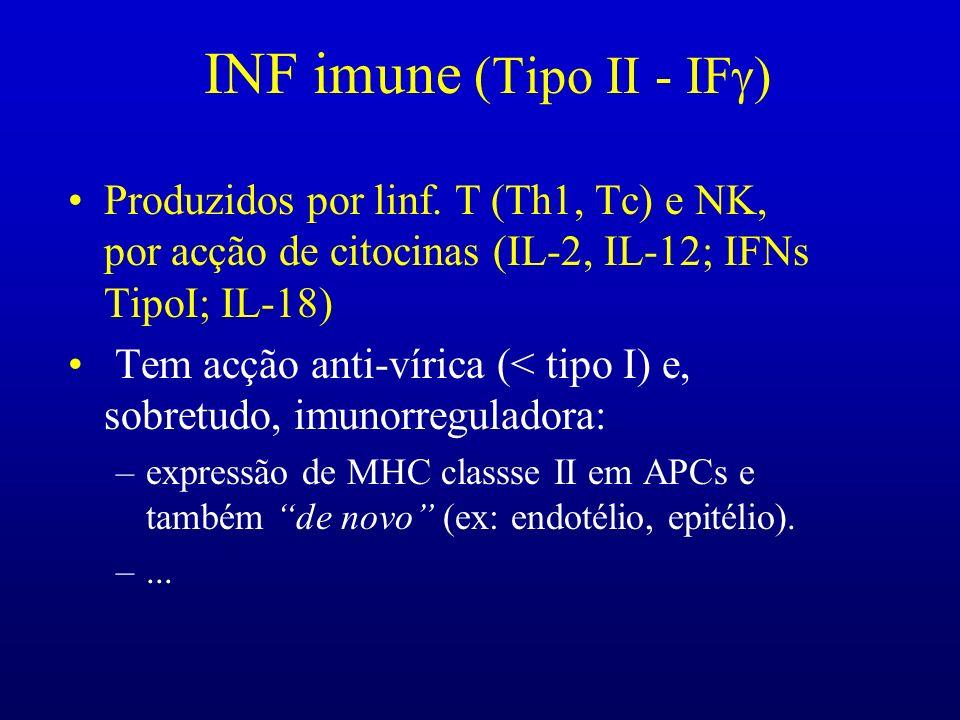 INF imune (Tipo II - IF ) Produzidos por linf. T (Th1, Tc) e NK, por acção de citocinas (IL-2, IL-12; IFNs TipoI; IL-18) Tem acção anti-vírica (< tipo