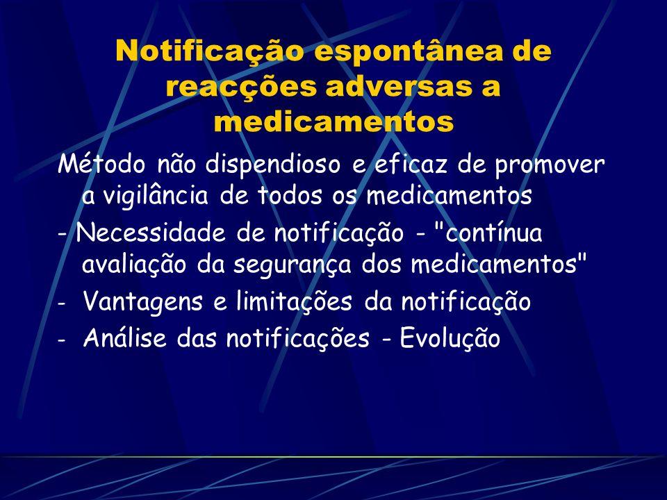 Notificação espontânea de reacções adversas a medicamentos Método não dispendioso e eficaz de promover a vigilância de todos os medicamentos - Necessi