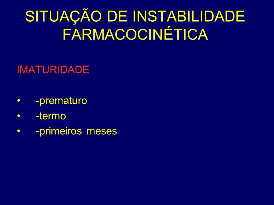 SITUAÇÃO DE INSTABILIDADE FARMACOCINÉTICA IMATURIDADE -prematuro -termo -primeiros meses