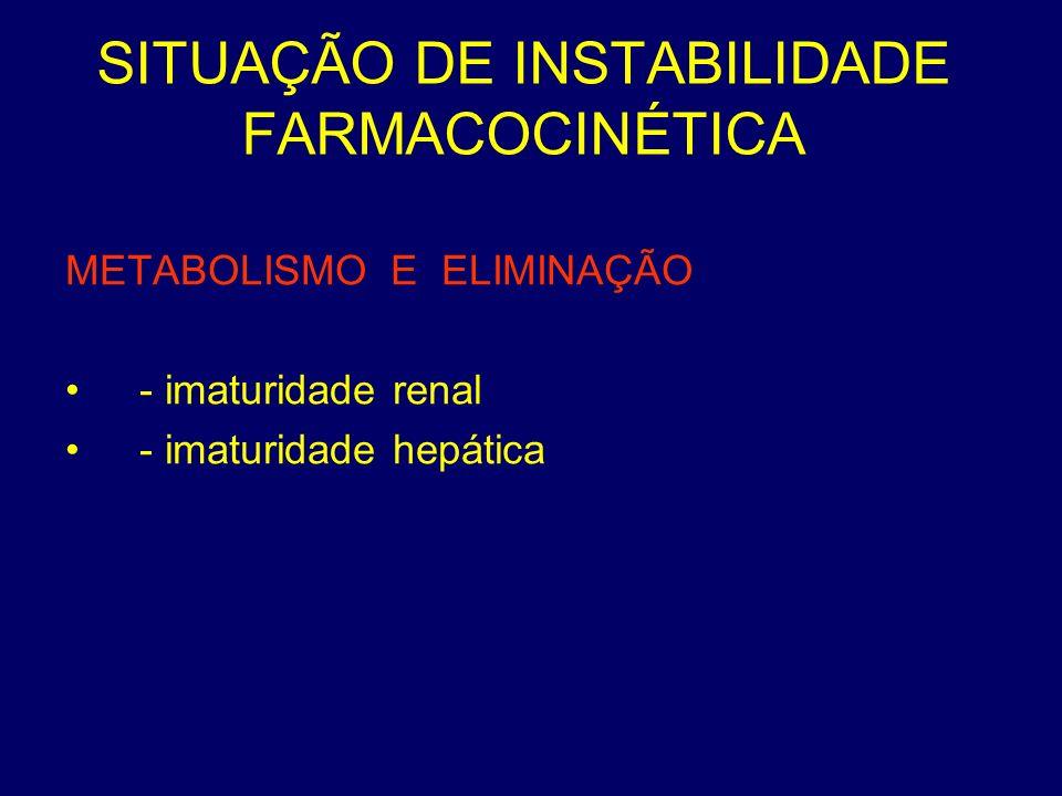 SITUAÇÃO DE INSTABILIDADE FARMACOCINÉTICA METABOLISMO E ELIMINAÇÃO - imaturidade renal - imaturidade hepática