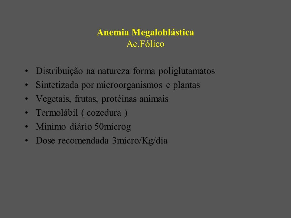 Anemia Megaloblástica Ac.Fólico Distribuição na natureza forma poliglutamatos Sintetizada por microorganismos e plantas Vegetais, frutas, protéinas animais Termolábil ( cozedura ) Minimo diário 50microg Dose recomendada 3micro/Kg/dia