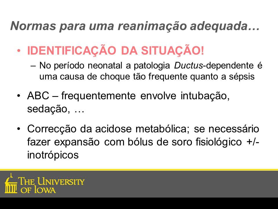 Normas para uma reanimação adequada… IDENTIFICAÇÃO DA SITUAÇÃO! –No período neonatal a patologia Ductus-dependente é uma causa de choque tão frequente