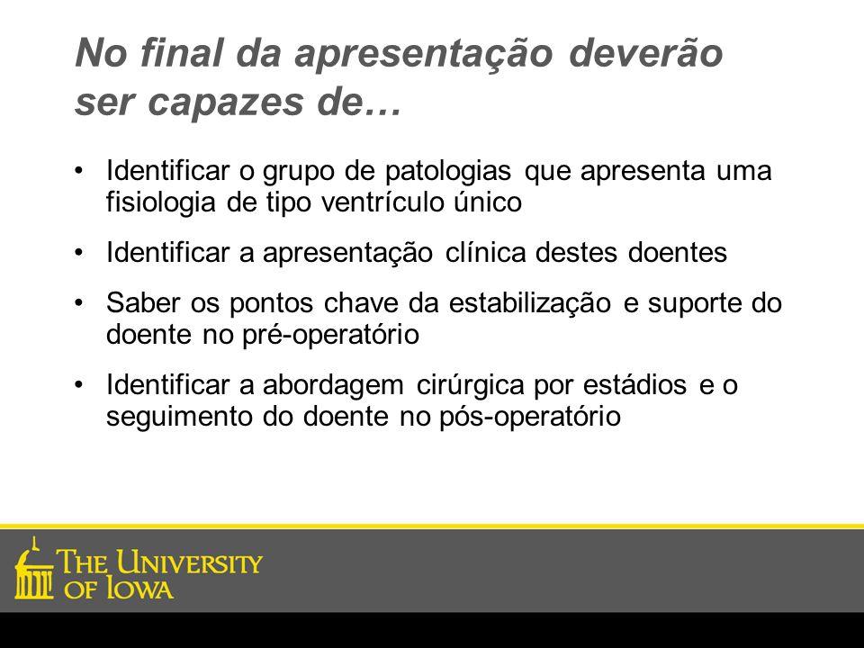No final da apresentação deverão ser capazes de… Identificar o grupo de patologias que apresenta uma fisiologia de tipo ventrículo único Identificar a