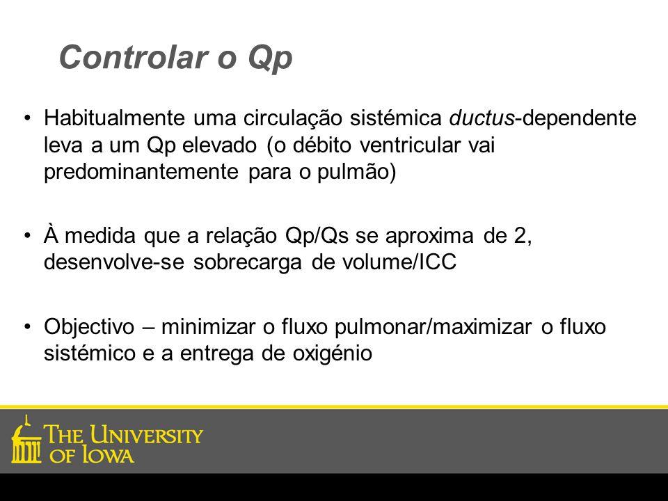Controlar o Qp Habitualmente uma circulação sistémica ductus-dependente leva a um Qp elevado (o débito ventricular vai predominantemente para o pulmão