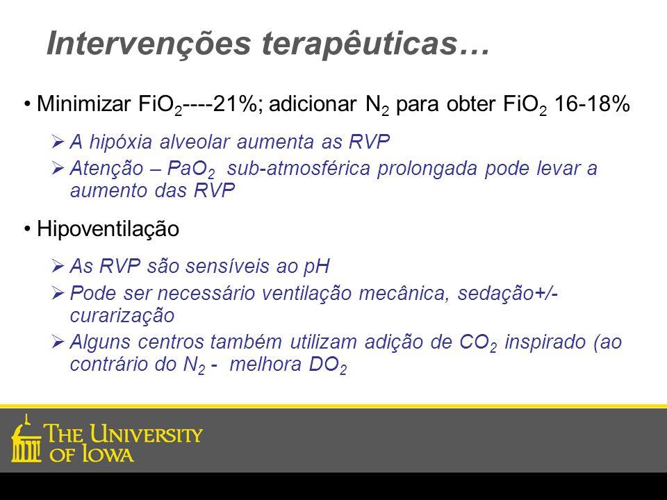 Intervenções terapêuticas… Minimizar FiO 2 ----21%; adicionar N 2 para obter FiO 2 16-18% A hipóxia alveolar aumenta as RVP Atenção – PaO 2 sub-atmosf