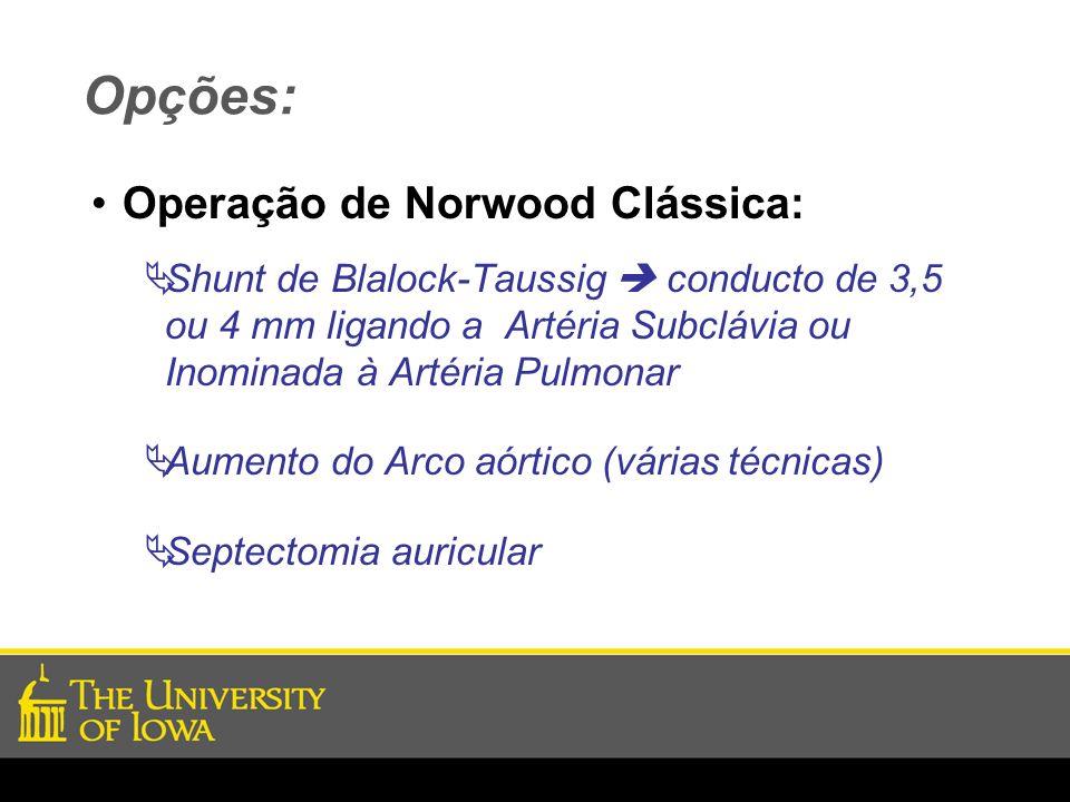 Opções: Operação de Norwood Clássica: Shunt de Blalock-Taussig conducto de 3,5 ou 4 mm ligando a Artéria Subclávia ou Inominada à Artéria Pulmonar Aum