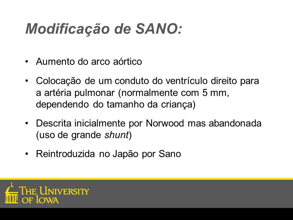 Modificação de SANO: Aumento do arco aórtico Colocação de um conduto do ventrículo direito para a artéria pulmonar (normalmente com 5 mm, dependendo d