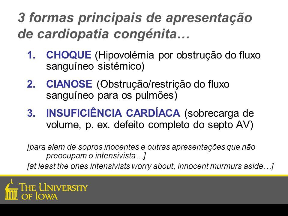 3 formas principais de apresentação de cardiopatia congénita… 1.CHOQUE (Hipovolémia por obstrução do fluxo sanguíneo sistémico) 2.CIANOSE (Obstrução/r