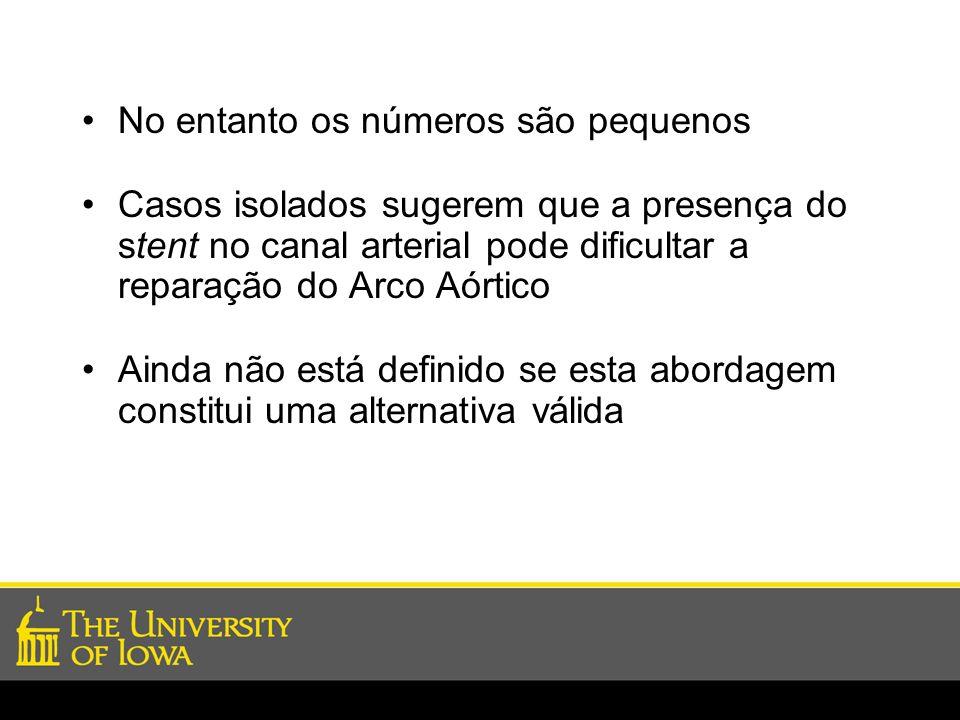 No entanto os números são pequenos Casos isolados sugerem que a presença do stent no canal arterial pode dificultar a reparação do Arco Aórtico Ainda