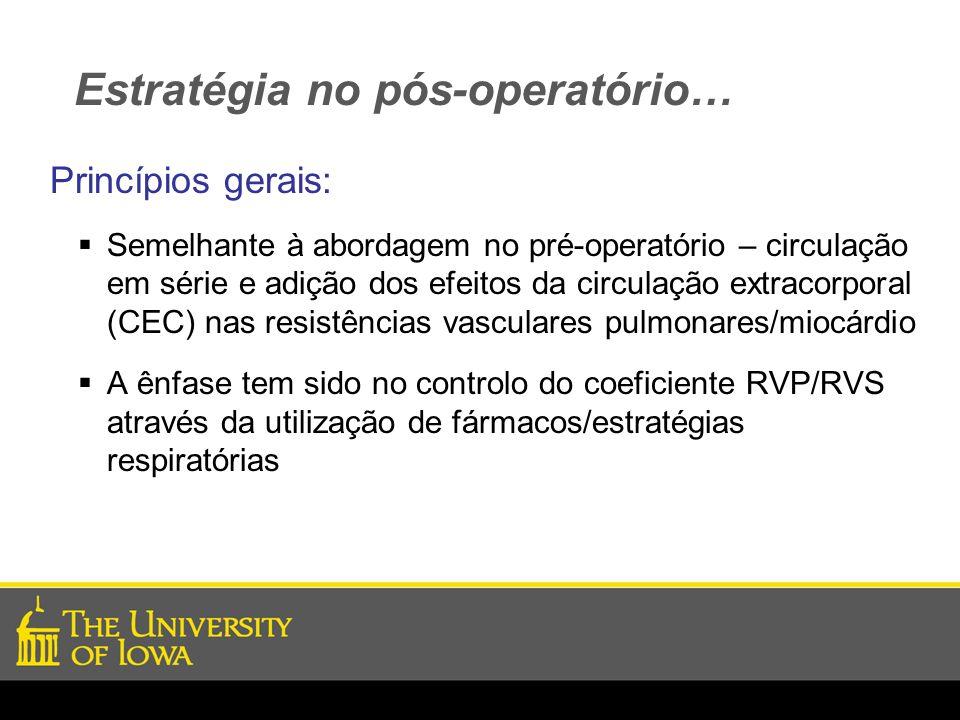 Estratégia no pós-operatório… Princípios gerais: Semelhante à abordagem no pré-operatório – circulação em série e adição dos efeitos da circulação ext