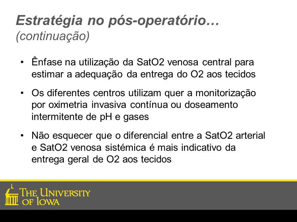 Estratégia no pós-operatório… (continuação) Ênfase na utilização da SatO2 venosa central para estimar a adequação da entrega do O2 aos tecidos Os dife