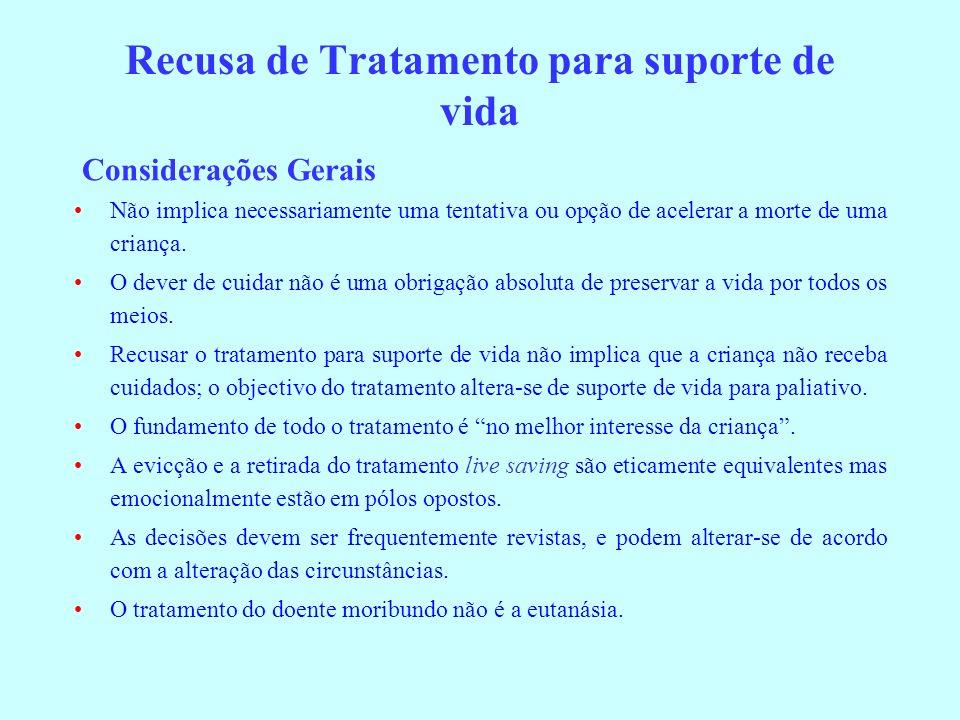 Recusa de Tratamento para suporte de vida Considerações Gerais Não implica necessariamente uma tentativa ou opção de acelerar a morte de uma criança.
