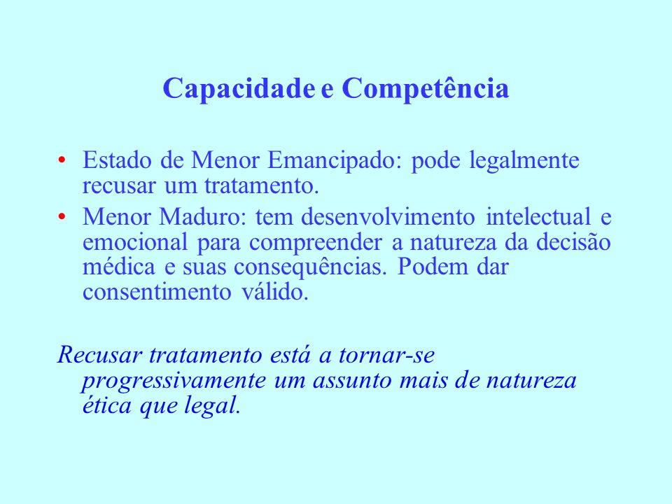 Capacidade e Competência Estado de Menor Emancipado: pode legalmente recusar um tratamento. Menor Maduro: tem desenvolvimento intelectual e emocional