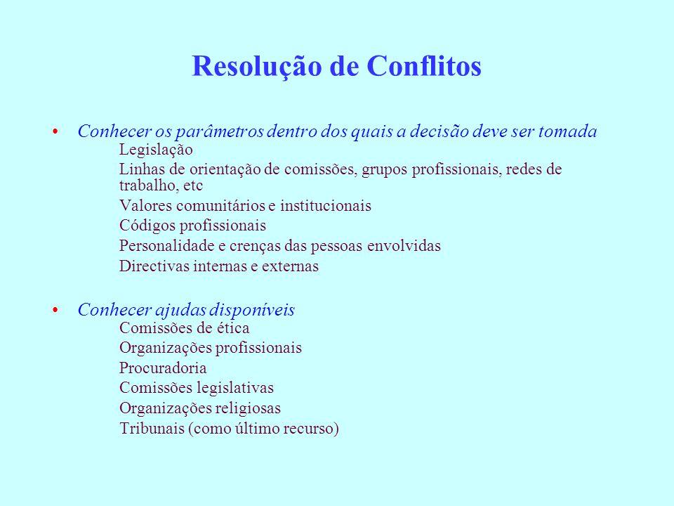 Resolução de Conflitos Conhecer os parâmetros dentro dos quais a decisão deve ser tomada Legislação Linhas de orientação de comissões, grupos profissi
