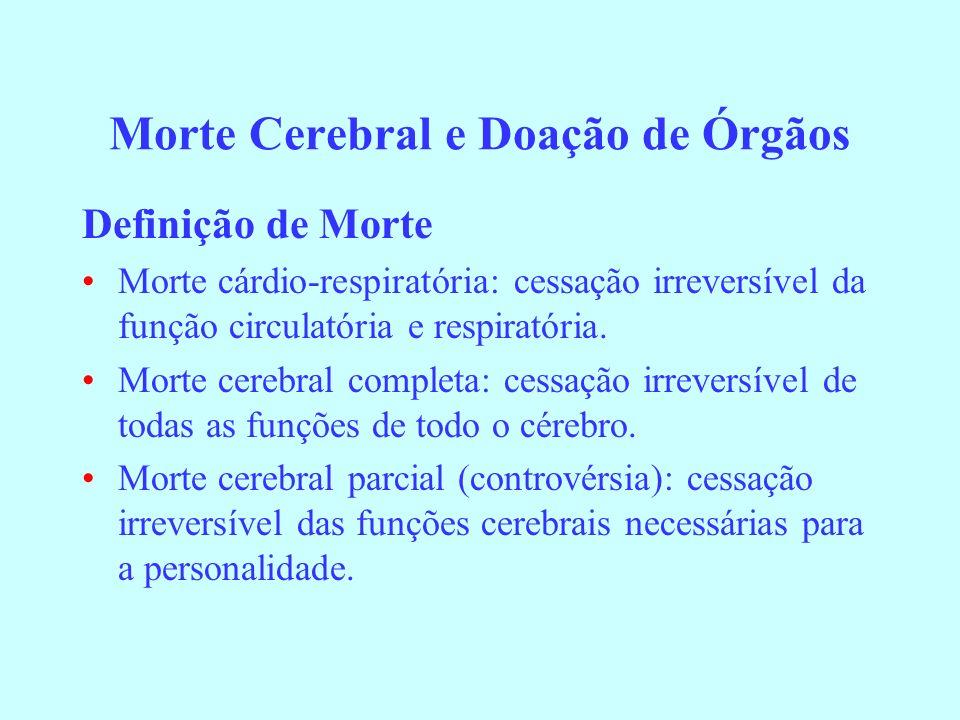 Morte Cerebral e Doação de Órgãos Definição de Morte Morte cárdio-respiratória: cessação irreversível da função circulatória e respiratória. Morte cer