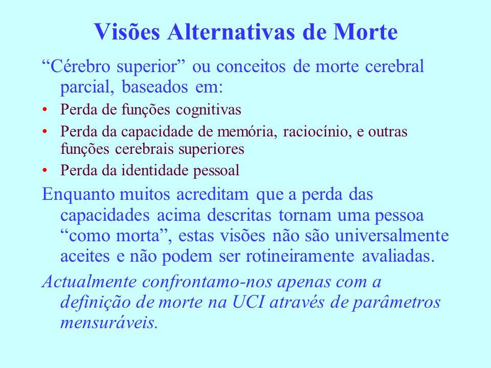 Visões Alternativas de Morte Cérebro superior ou conceitos de morte cerebral parcial, baseados em: Perda de funções cognitivas Perda da capacidade de