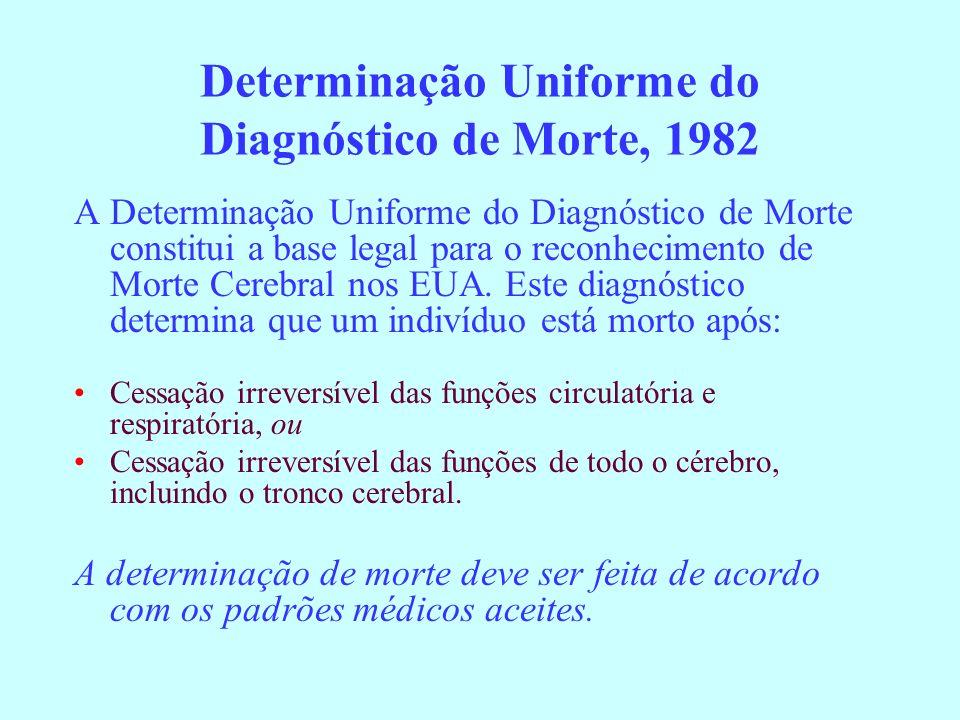 Determinação Uniforme do Diagnóstico de Morte, 1982 A Determinação Uniforme do Diagnóstico de Morte constitui a base legal para o reconhecimento de Mo