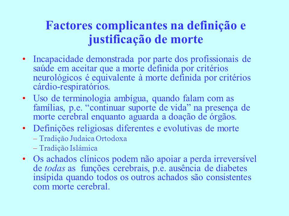 Factores complicantes na definição e justificação de morte Incapacidade demonstrada por parte dos profissionais de saúde em aceitar que a morte defini