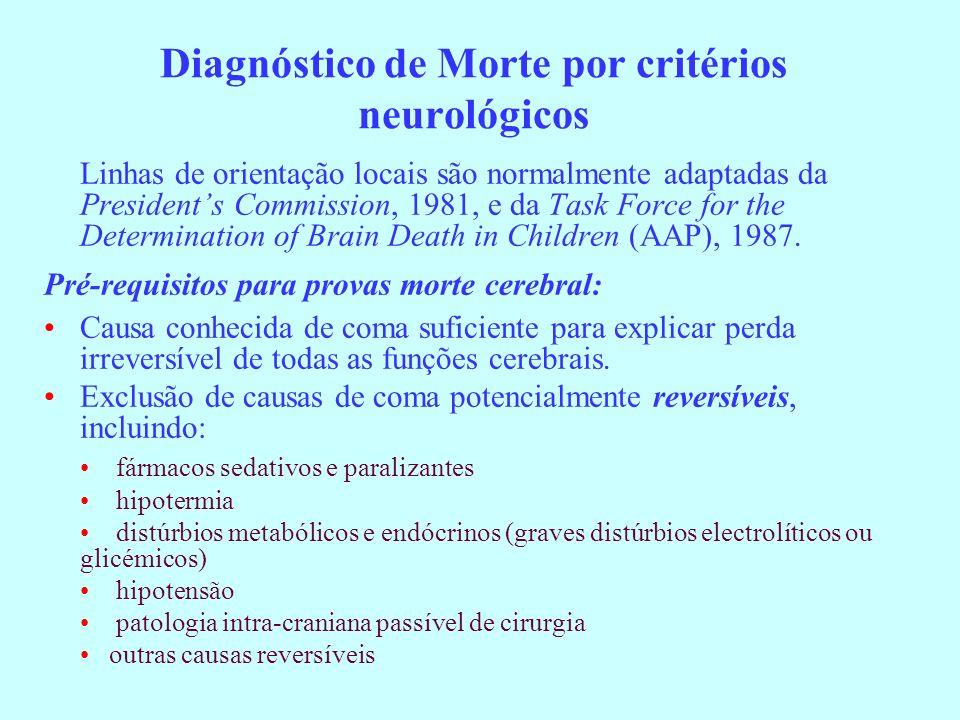 Diagnóstico de Morte por critérios neurológicos Linhas de orientação locais são normalmente adaptadas da Presidents Commission, 1981, e da Task Force