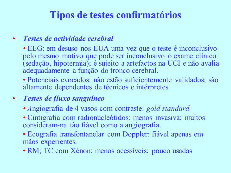 Tipos de testes confirmatórios Testes de actividade cerebral EEG: em desuso nos EUA uma vez que o teste é inconclusivo pelo mesmo motivo que pode ser