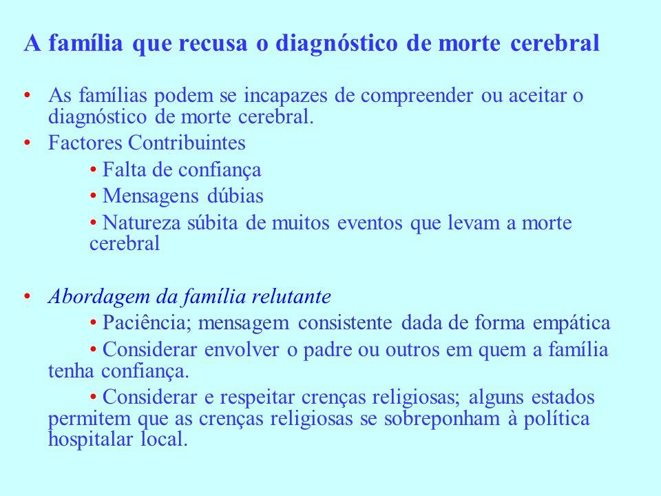 A família que recusa o diagnóstico de morte cerebral As famílias podem se incapazes de compreender ou aceitar o diagnóstico de morte cerebral. Factore