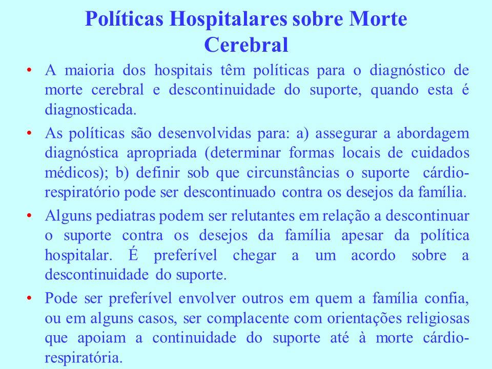 Políticas Hospitalares sobre Morte Cerebral A maioria dos hospitais têm políticas para o diagnóstico de morte cerebral e descontinuidade do suporte, q