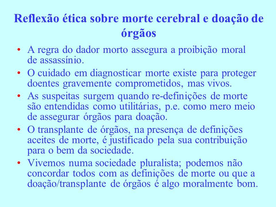 Reflexão ética sobre morte cerebral e doação de órgãos A regra do dador morto assegura a proibição moral de assassínio. O cuidado em diagnosticar mort