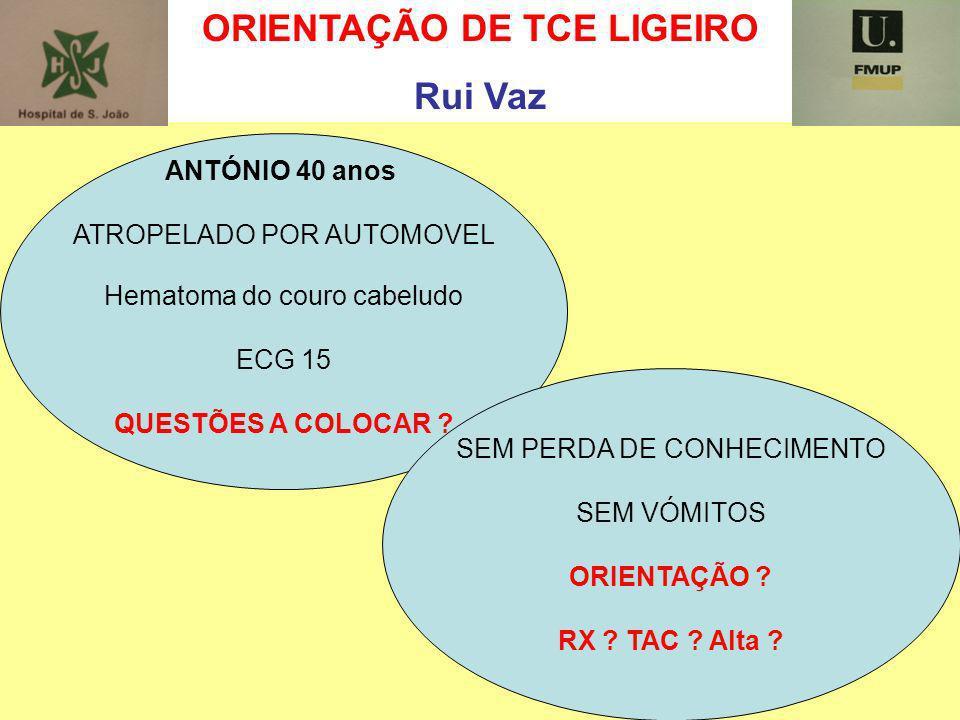 ORIENTAÇÃO DE TCE LIGEIRO Rui Vaz ANTÓNIO 40 anos ATROPELADO POR AUTOMOVEL Hematoma do couro cabeludo ECG 15 QUESTÕES A COLOCAR ? SEM PERDA DE CONHECI