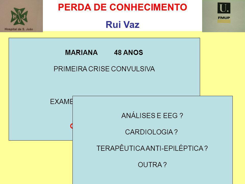 PERDA DE CONHECIMENTO Rui Vaz MARIANA 48 ANOS PRIMEIRA CRISE CONVULSIVA EXAME NEUROLÓGICO NORMAL QUE ORIENTAÇÃO ? ANÁLISES E EEG ? CARDIOLOGIA ? TERAP