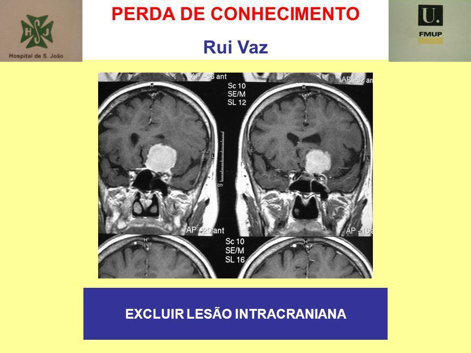 PERDA DE CONHECIMENTO Rui Vaz EXCLUIR LESÃO INTRACRANIANA