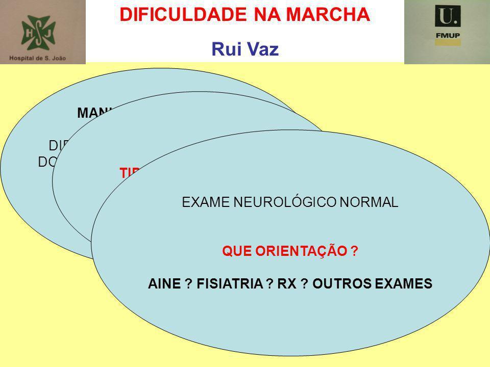 DIFICULDADE NA MARCHA Rui Vaz MANUEL ABREU 65 anos DIFICULDADES NA MARCHA POR DORES NOS MEMBROS INFERIORES QUESTÕES A COLOCAR ? TIPO DE CLAUDICAÇÃO EX