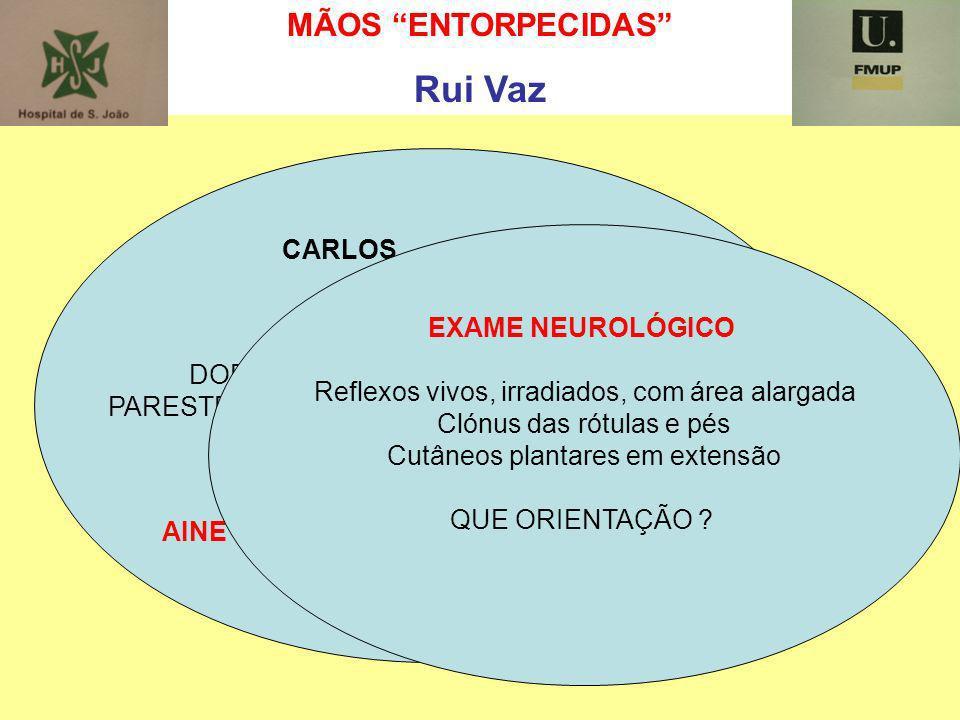 MÃOS ENTORPECIDAS Rui Vaz CARLOS 71 ANOS CERVICALGIAS ANTIGAS DORES NOS MEMBROS SUPERIORES PARESTESIAS E PERDA DE AGILIDADE DAS MÃOS QUE ORIENTAÇÃO ?