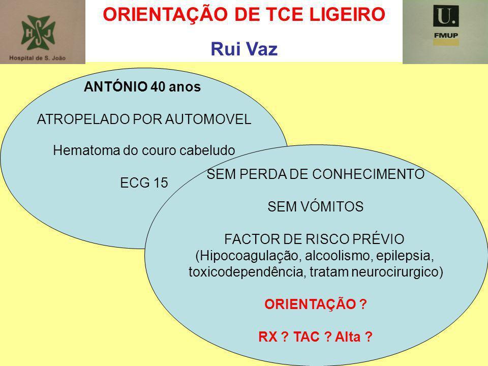 ORIENTAÇÃO DE TCE LIGEIRO Rui Vaz ANTÓNIO 40 anos ATROPELADO POR AUTOMOVEL Hematoma do couro cabeludo ECG 15 SEM PERDA DE CONHECIMENTO SEM VÓMITOS FAC