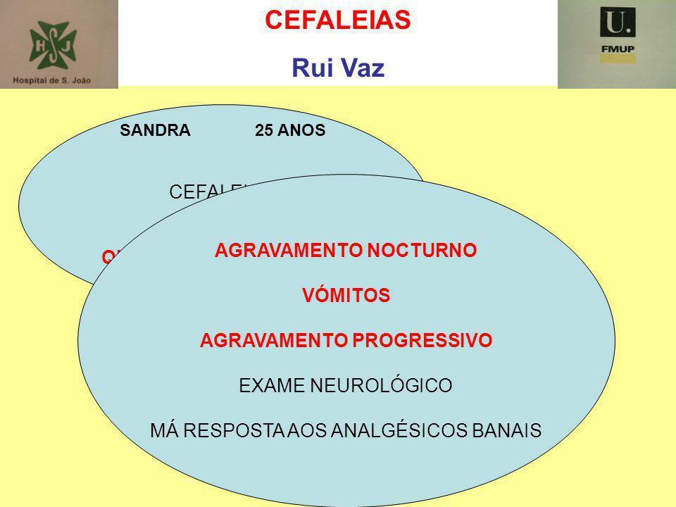 CEFALEIAS Rui Vaz SANDRA 25 ANOS CEFALEIAS QUE CARACTERÍSTICAS ? AGRAVAMENTO NOCTURNO VÓMITOS AGRAVAMENTO PROGRESSIVO EXAME NEUROLÓGICO MÁ RESPOSTA AO